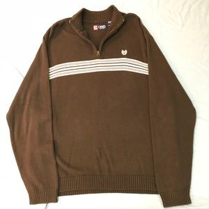 Chaps Quarter Zip Pullover Sweater w/White Stripes